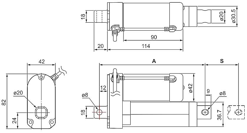 DSZY1-HS2 (Hallsensor) und DSZY1Q-HS2 (Hallsensor) Maßbild