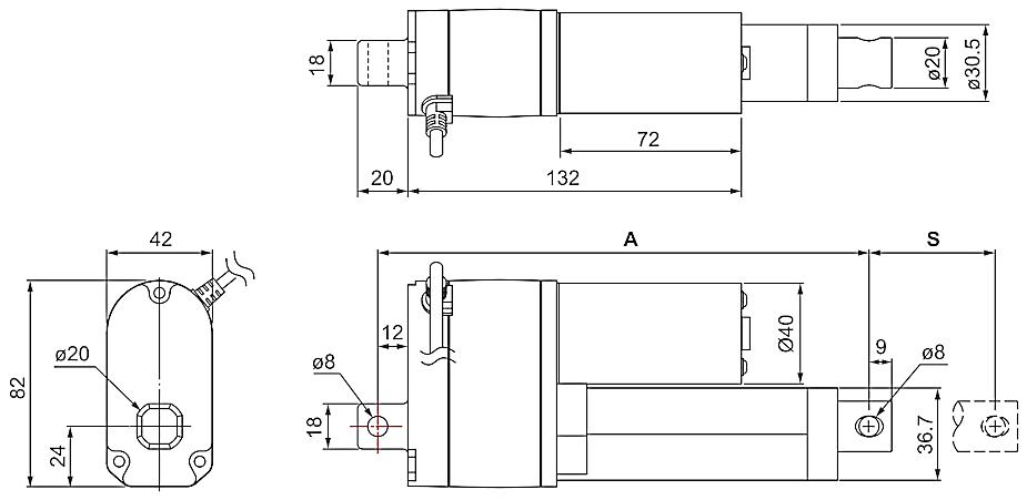 DSZY1-POT (Potentiometer) und DSZY1Q-POT (Potentiometer) Maßbild