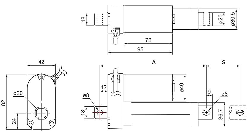 DSZY1-STD (Standard) und DSZY1Q-STD (Standard) Elektrozylinder - Maßbild