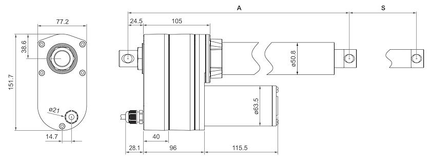 DSZY2-LT-HS2 (Endschalter) und DSZY2-POT (Potentiometer) Maßbild