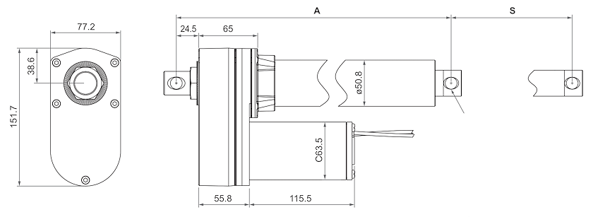 DSZY2-STD (Standard) und DSZY2-HS2 (2-Kanal-Hallsensor) Maßbild