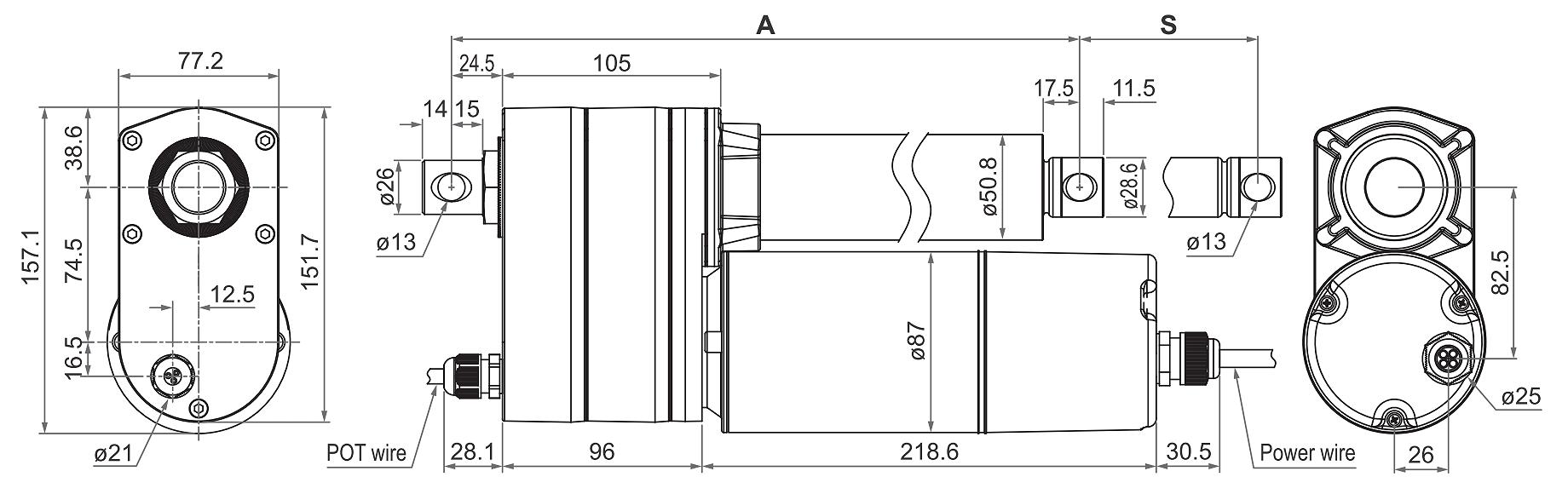 DSZY6-POT Maßbild - Variante mit Potentiometer